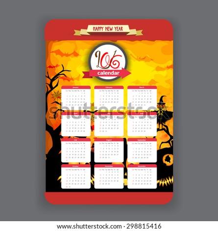 halloween pumpkins background Calendar 2016 year design - stock vector