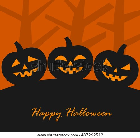 Halloween pumpkins background. Vector illustration