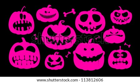 Halloween pumpkins characters. - stock vector