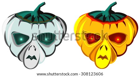 Halloween pumpkins, grey and orange alien masks, Jack-o'-lantern, vector illustration, isolated on white
