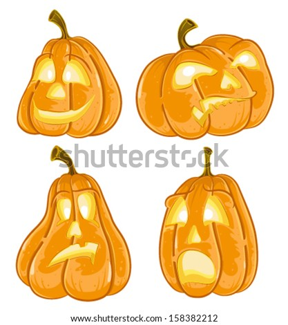 Halloween pumpkins Jack O Lanterns set isolated on white - stock vector