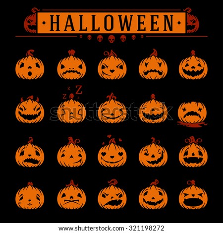 Halloween pumpkins objects emotions vector design elements set - stock vector