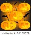 Halloween pumpkins on spiderweb, vector illustration for your design - stock vector