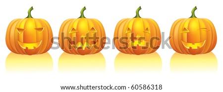 Halloween pumpkins on white.Vector - stock vector