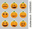 Halloween pumpkins - stickers - stock photo