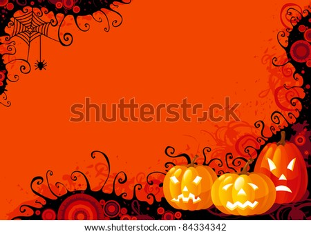 Halloween pumpkins. Three glowing halloween pumpkins and spider with web on  abstract background. - stock vector