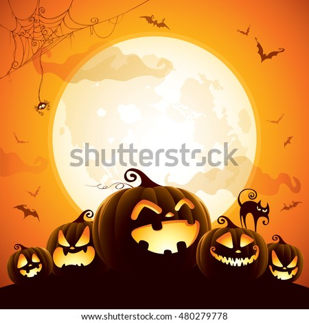 Halloween Pumpkins Under Moonlight Stock Vector 480279778 ...
