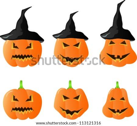 Halloween Pumpkins with hats - stock vector