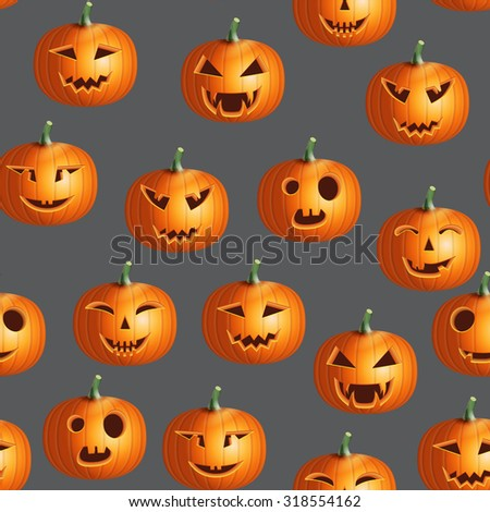 Halloween realistic colorful pumpkin vector seamless pattern