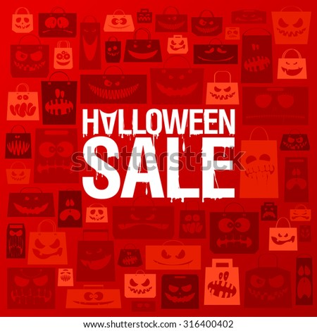 Halloween sale banner against scary paper bags background. - stock vector