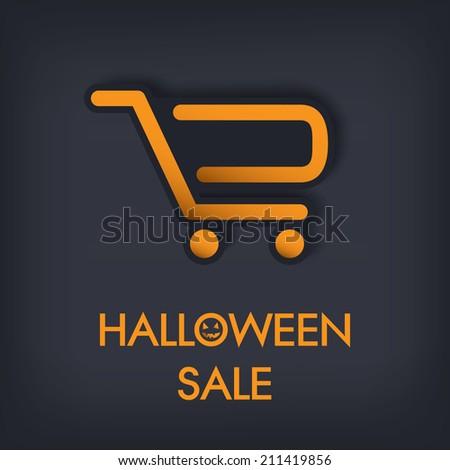 Halloween sale concept design with shopping cart. Eps10 vector illustration. - stock vector