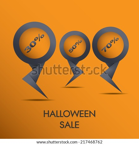 Halloween sale discount tags eps10 vector illustration with different values and percentages - stock vector