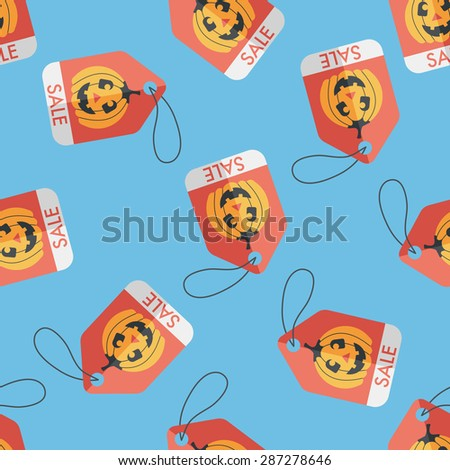 Halloween SALE flat icon,eps10 seamless pattern background - stock vector