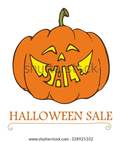 Halloween sale. Happy holiday. Vector illustration with funny smiling pumpkin