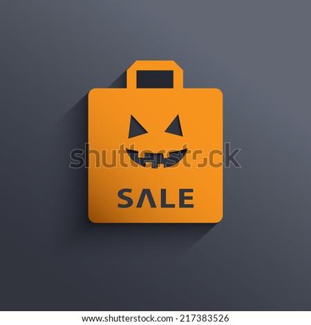 Halloween sale shopping bag symbol with long shadow. Eps10 vector illustration. - stock vector