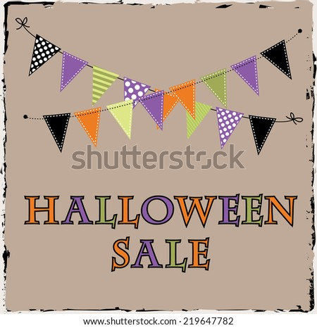 Halloween sale template with bunting or banner on brown grunge background - stock vector