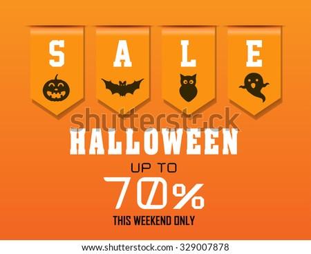 Halloween Sale Sales Ribbon 70 Stock Vector 329007878 - Shutterstock