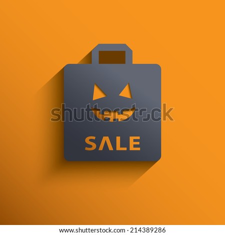 Halloween sales invitation with shopping bag. Eps10 vector illustration. - stock vector