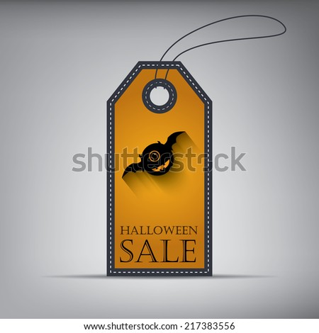 Halloween sales price tag. with monster. Eps10 vector illustration - stock vector