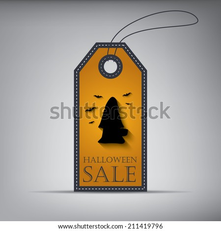 Halloween sales tag eps10 vector illustration with person and bats - stock vector