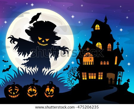 Halloween scarecrow silhouette theme 1 - eps10 vector illustration.