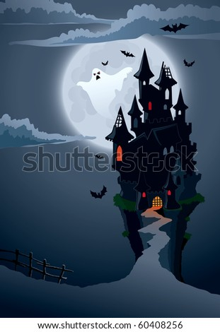Halloween scary castle, perfect illustration for Halloween holiday - stock vector