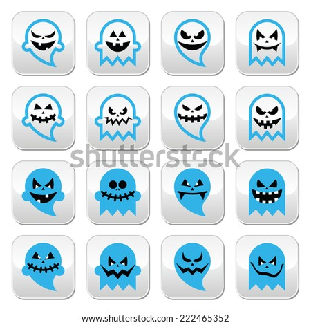 Halloween scary ghost, spirit vector buttons set  - stock vector