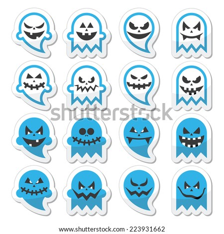 Halloween scary ghost, spirit vector icons set  - stock vector