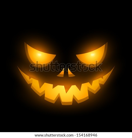 Halloween scary illuminated face in the dark vector illustration. - stock vector