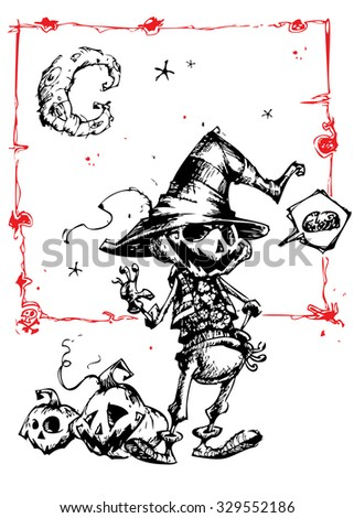 Halloween scary pumpkin head scarecrow, vector illustration for Halloween holiday. Hand drawn