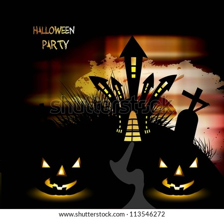 Halloween Scary pumpkins bright colorful vector illustration