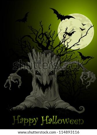 Halloween Scary tree background - stock vector