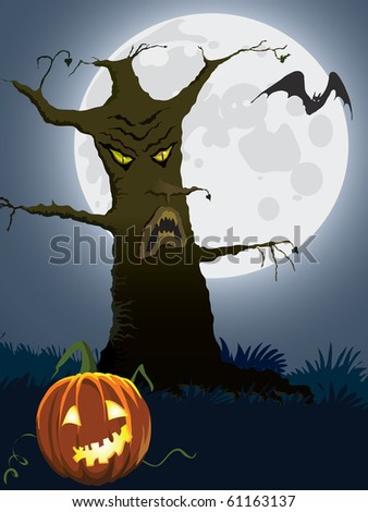 Halloween scary tree, illustration for Halloween holiday