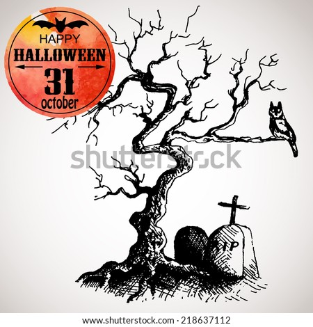 Halloween scary tree with owl and grave. Typographic poster Graveyard background. Hand-drawn illustration and watercolor. Vector design sketch