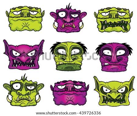 halloween scary zombie cartoon heads - stock vector