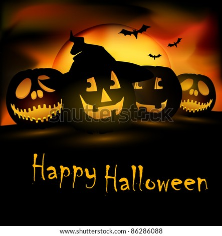 Halloween scene|editable eps. 10 vector graphic - stock vector
