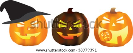 halloween scene of a pumpkin set of three