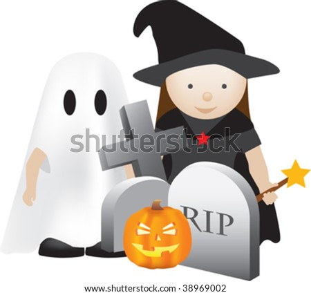 halloween scene with kids as ghosts and witches