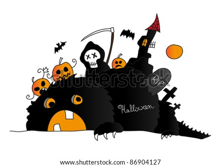 Halloween scene with monster, death and pumpkins