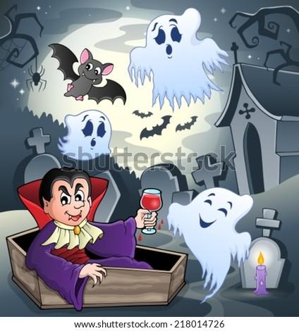 Halloween scenery with cemetery 8 - eps10 vector illustration. - stock vector