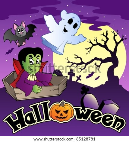 Halloween scenery with sign 3 - vector illustration.