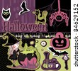 halloween scrapbook set - stock vector