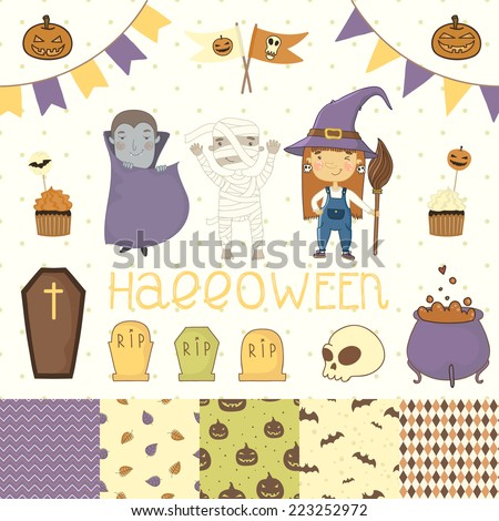 Halloween scrapbook set. Witch, dracula, mummy. Various elements for your festive design - patterns flozhki, stickers, etc. eps 10 - stock vector