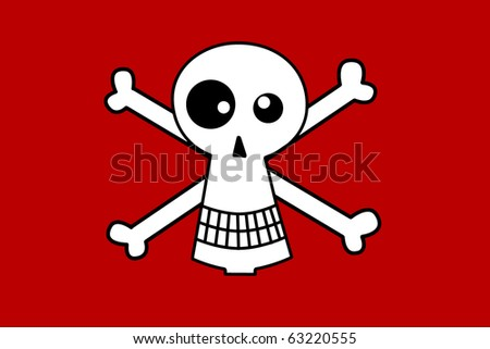 Halloween scull  character on red background - stock vector
