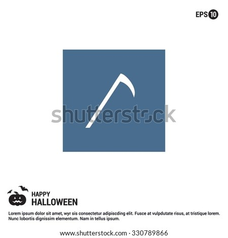 Halloween Scythe icon. Halloween Flat elements collection.  simple minimal, flat, solid, mono, monochrome, plain, contemporary style. Vector illustration web internet design elements