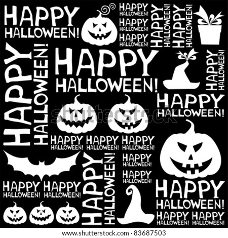 Halloween seamless background with bats and pumpkin. vector illustration