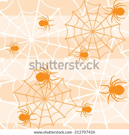 Halloween seamless background with spiders and web - stock vector