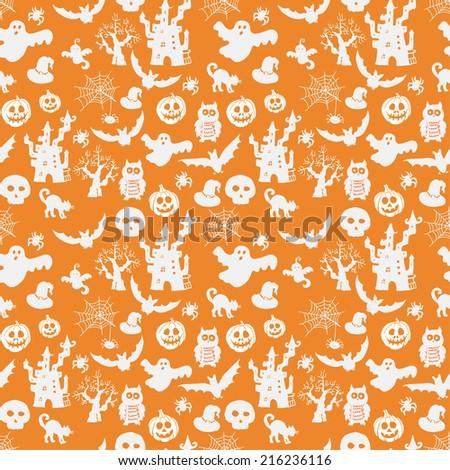 Halloween seamless pattern on an orange background. vector illustration - stock vector