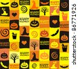 Halloween Seamless Pattern with bats and pumpkin. vector illustration - stock vector