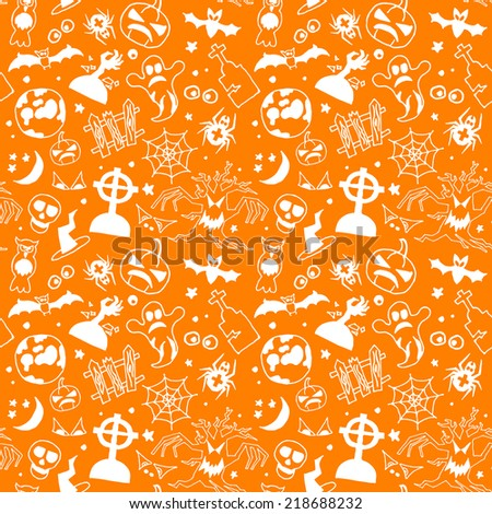 Halloween seamless pattern with bats, ghost and pumpkin, vector illustration - stock vector